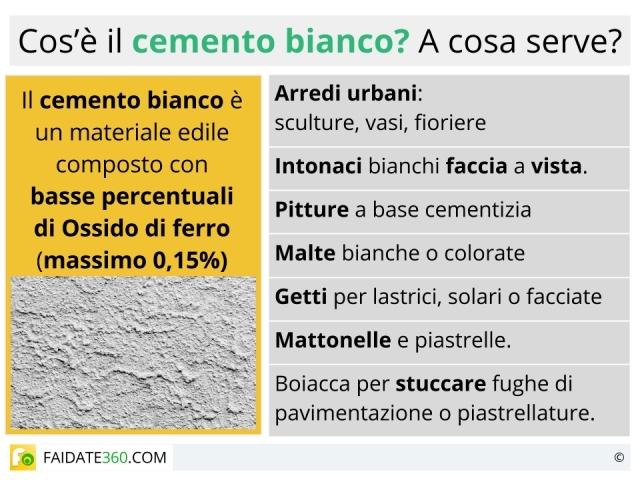 Cemento bianco: caratteristiche, composizione, uso e prezzo