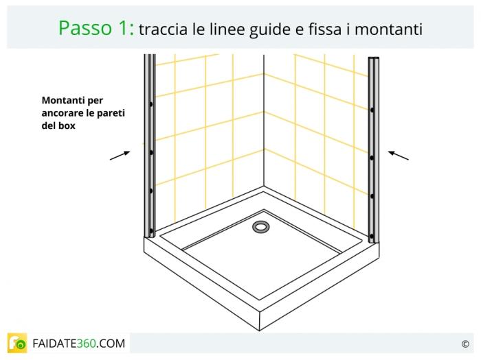 Montaggio box doccia passo 1
