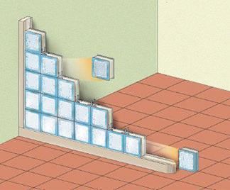 pareti divisorie in vetromattoni : Posa vetrocemento.