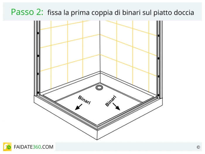 Schema montaggio box doccia passo 2