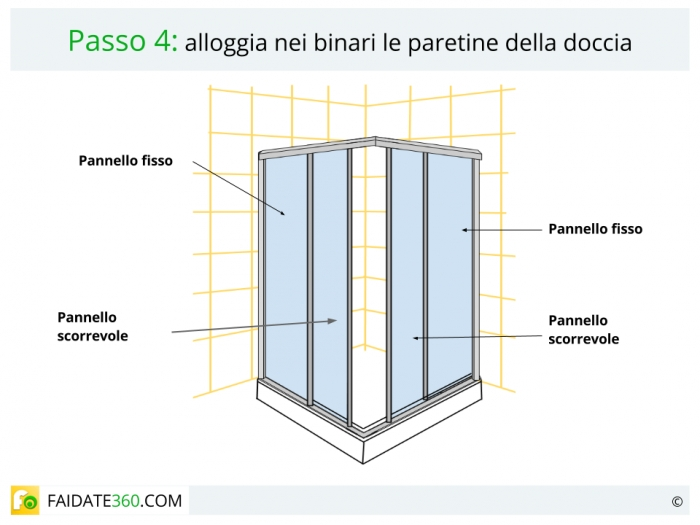 Montaggio box doccia passo 4